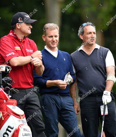 (L) Paul Lawrie of Scotland, (C) Jeremy Kyle, TV presenter and (R) Stuart Robinson on the 2nd tee during the pro-am tournament of The BMW PGA Championship @ Wentworth Club, Surrey.
