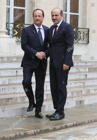 Francois Hollande and Ahmad Jarba