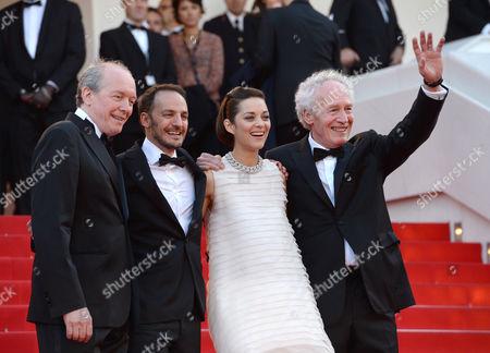 Stock Image of Luc Dardenne, Fabrizio Rongione, Marion Cotillard and Jean-Pierre Dardenne
