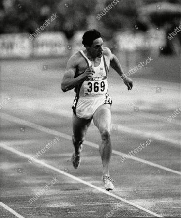 Athletic: European Games Stuttgart 1986. Allan Wells In Action.