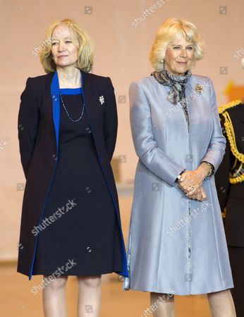 Stock Image of Laureen Harper and Camilla Duchess of Cornwall at the Stevenson Aircraft hanger in Winnipeg