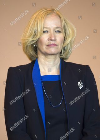 Stock Image of Laureen Harper at the Stevenson Aircraft hanger in Winnipeg