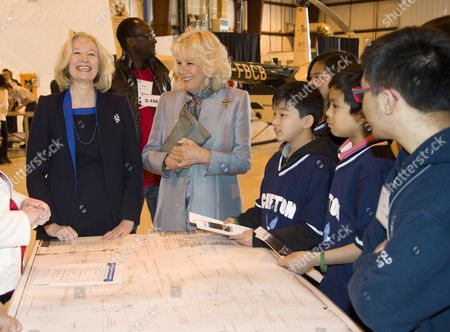 Laureen Harper and Camilla Duchess of Cornwall at the Stevenson Aircraft hanger in Winnipeg
