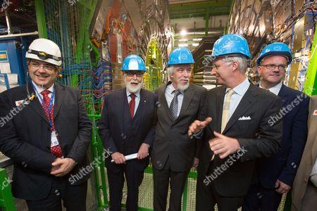 Francois Englert, Rolf Dieter Heuer, King Philippe, Philippe Courard
