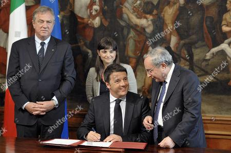 Italian Prime Minister Matteo Renzi, Pierfrancesco Vago, Giuseppe Bono, Debora Serracchiani