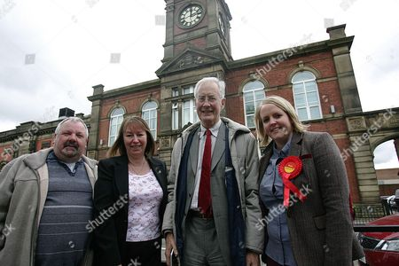 Stock Picture of Labour Royton South Councilor Steven Bashforth, Candidate Marie Bashforth, Oldham West & Royton MP Michael Meacher & Councilor Amanda Chadderton