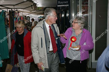 Stock Image of Oldham West and Royton MP Michael Meacher talks to supporters
