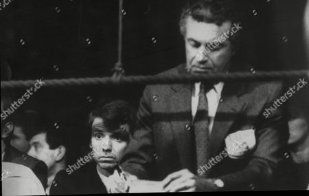 Sports Minister 4th Lord Moynihan ( Colin Moynihan ) Sits Behind Ibf Official At Ringside During The Match Between Tony Sibson And Frank Tate At The Bingley Hall Stafford. Fighting Broke Out In The Crowd Including Cs Gas Canisters Being Thrown.
