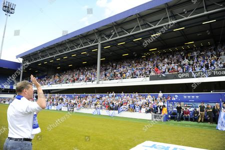 QPR Chief Executive Philip Beard addresses the fans at a promotion celebration at Loftus Road