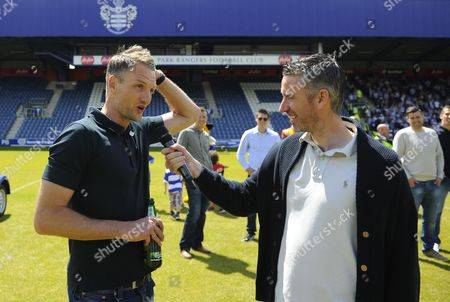 QPR captain Clint Hill in interviewed on the pitch by Paul Morrissey of the club media team