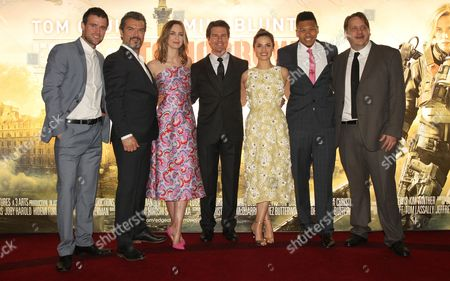 Jonas Armstrong, guest, Emily Blunt, Tom Cruise, Charlotte Riley, Franz Drameh and Tony Way