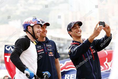 Street trials rider Danny MacAskill, Sebastian Vettel and Daniel Ricciardo
