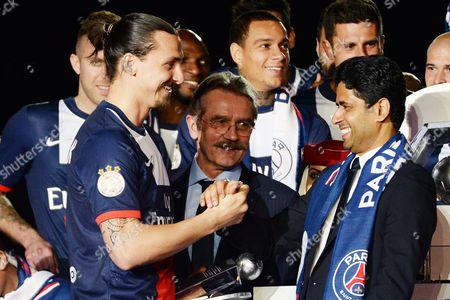 Zlatan Ibrahimovic, Frederic Thiriez and Nasser Al-Khelaifi