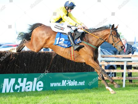 27-5-14 BALLINROBE SAMMY BLACK and Danny Mullins jump the last to win the McHale Mayo National Hadicap Chase for trainer Tony Mullins.