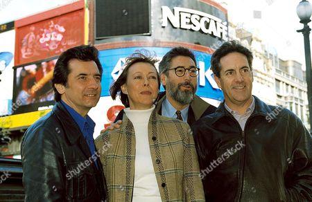 (L-R) GRIFFIN DUNNE, JENNY AGUTTER, JOHN LANDIS AND DAVID NAUGHTON
