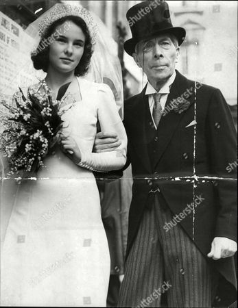 Actor George Arliss Giving Away Bride Catherine Ames At Her Wedding Where She Married Mr. W.s. Godden At St. James's Church Piccadilly.