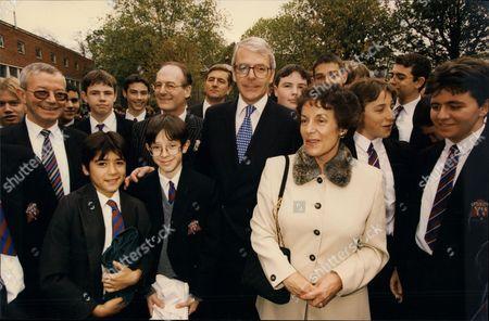 Prime Minister John Major & Gillian Shephard At The Cardinal Vaughan Memorial School In London.