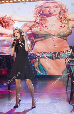 Stock Picture of The Paul O'Grady Show Presented by Paul O'Grady with his pet dog Olga  27-05-2014. Tonights guests were Christina Bianco Pandemonium Drummers Jonas Armstrong Bonnie Tyler