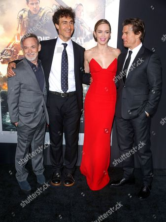 Erwin Stoff, Doug Liman, Emily Blunt and Tom Cruise