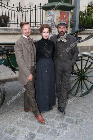 Stock Image of Philipp Hochmair as Arthur von Suttner, Birgit Minichmayr as Bertha von Suttner and Sebastian Koch as Alfred Nobel