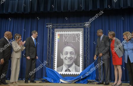 The US Post Master General along with Nancy Pelosi-D, CA, Stuart Milk of the Harvey Milk Foundation and Milk's nephew, Ambassdor Samantha Powers and Senator Tammy Baldwin unveil the Harvey Milk Forever stamp, honoring the slained LGBT rights activists