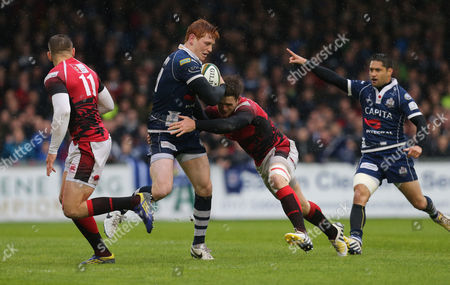 Bristol's Jack Tovey is tackled by London Welsh's Seb Jewell