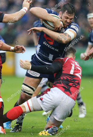 Bristol's Glen Townson is tackled by London Welsh's Seb Jewell