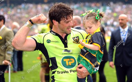 Saracens' Northampton's Ben Foden and his daughter, Aoife Belle celebrate victory - Rugby Union - Saracens v Northampton Saints - Aviva Premiership Final - at Twickenham Stadium, Middlesex UK.   Photo  Credit - Tom Dwyer/Seconds Left Images - All rights reserved