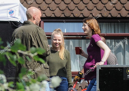 Pregnant Beth Latimer played by Jodie Whittaker with daughter Chloe Latimer played by Charlotte Beaumont and Nigel Carter played by Joe Sims