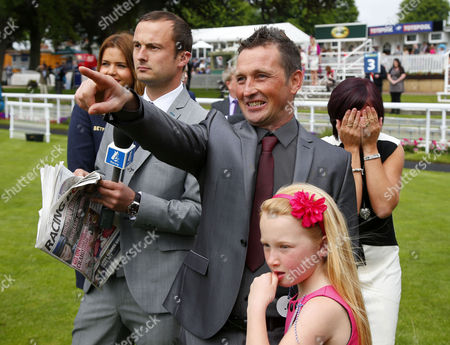 Craig Brazier winner of the Scoop6 last week sees his horse loose the £5 million bonus today with his family Tracy Jessica and Casey and Tom Lee from Channel 4 York