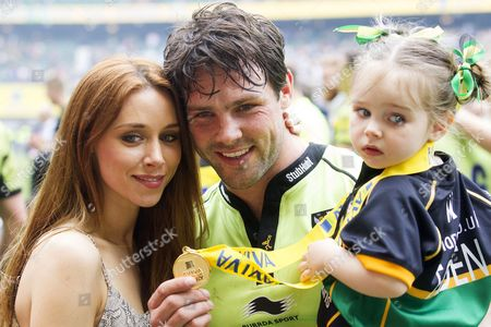 Stock Picture of Una Foden, Ben Foden of Northampton Saints and Aoife Belle Foden celebrate after the Aviva Premiership Final
