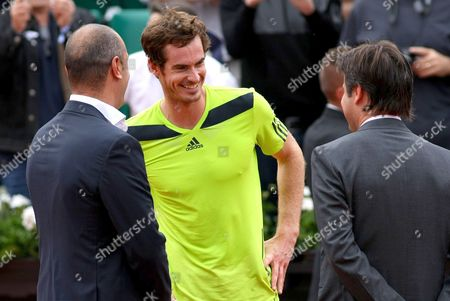 Andy Murray of Great Britain interviewed by Cedric Pioline