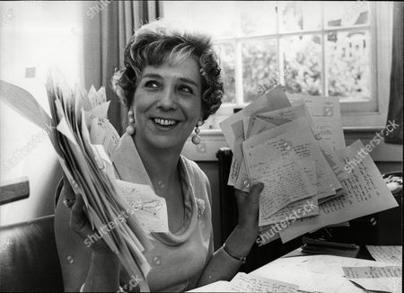 Stock Image of Doris Proctor Private Secretary To Chairman Of The National Coal Board Lord Robens Holds Letters Asking Chairman Not To Resign Following The Aberfan Tribunal Report.