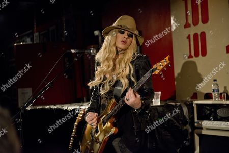 London United Kingdom - August 7: Australian Rock Musician Orianthi Panagaris Performing Live On Stage At The 100 Club In London On August 7