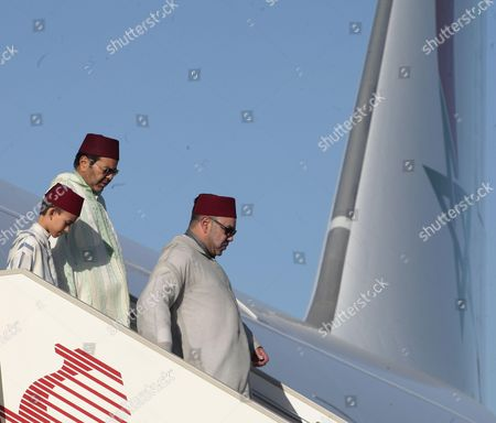 Moroccan King Mohammed VI, his son Crown Prince Moulay Hassan and his brother Prince Moulay Rachid of Morocco El Alaoui