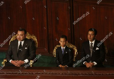 Moroccan King Mohammed VI, his son Crown Prince Moulay Hassan and his brother Prince Moulay Rachid of Morocco El Alaoui attend a session at Tunisia's Constituent Assembly