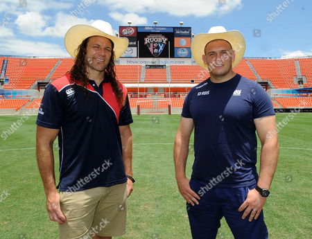 Gordon Reid - Scotland prop will make his debut against the USA on Saturday in the BBVA Compass Stadium (R) and Todd Clever - USA captain. Scotland photo call, BBVA Compass Stadium, Houston, Texas, USA, Thursday 5 June 2014. Please credit: ***Fotosport/David Gibson***