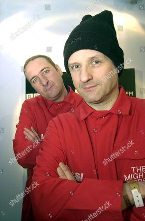 Editorial photo of RADIO 1 DJ DUO MARK AND LARD AT ALTON TOWERS, BRITAIN - 15 MAR 2002