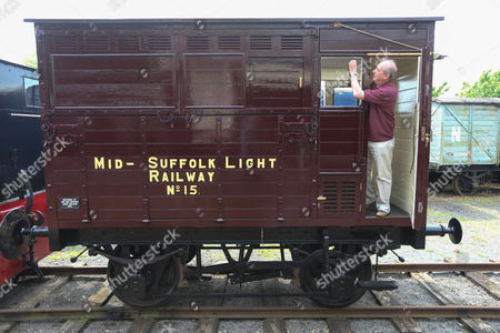 John Stark from the Mid-Suffolk Light Railway with the newly restored Horsebox No 180