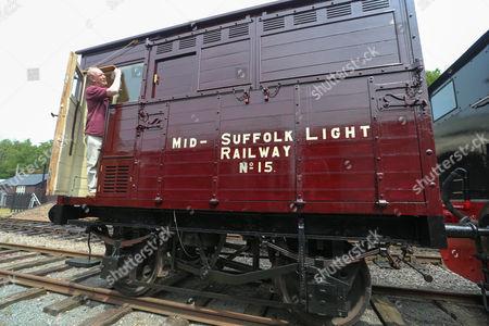 Editorial picture of Volunteers spend ten years restoring oldest surviving rail horsebox, Suffolk, Britain - 02 Jun 2014