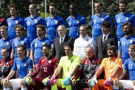 Italian football squad team photo, in the middle Chairman FIGC Giancarlo Abete, the Coach Cesare Prandelli and Vice Chairman FIGC Demetrio Albertini