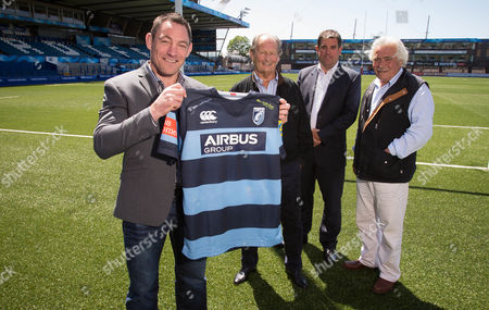 05.06.14 - Cardiff Blues New Director of Rugby Mark Hammett, with, left to right, Peter Thomas, Chairman, Richard Holland, Chief Executive, and Paul Bailey, Director, at the BT Sport Cardiff Arms Park