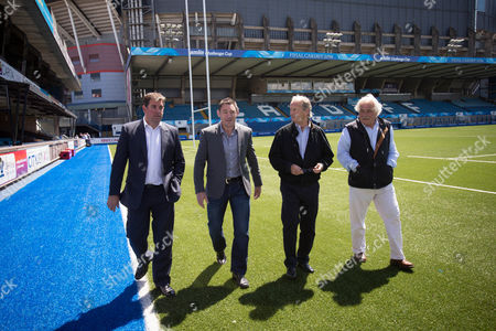 05.06.14 - Cardiff Blues New Director of Rugby Mark Hammett, second left, with Richard Holland, Chief Executive Cardiff Blues, left, Peter Thomas, Chairman and Paul Bailey, Director, right, at the BT Sport Cardiff Arms Park