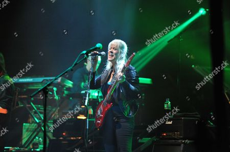 London United Kingdom - May 10: English Rock Musician Amanda Lehmann Performing Live On Stage As A Special Guest During Steve Hackett's Genesis Revisited Tour At The Hammersmith Apollo In London On May 10