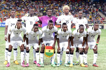 Ghana team group : back row, left to right, Kwadwo Asamoah, Mohammed Rabiu, Daniel Agyel, Isaac Vorsah, John Boye. Front row, left to right, John Pantsil, Christian Twasam Atsu, Asamoah Gyan, Harrison Afful, Emmanuel Agueman Badu, Mubarak Wakaso