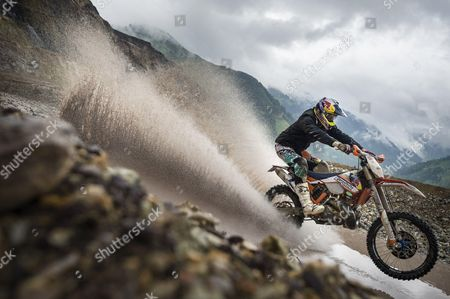 Dougie Lampkin performs during the Iron Road Prolog at the Red Bull Hare Scramble in Eisenerz, Austria