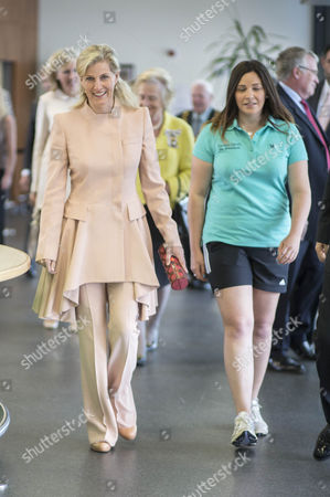 Stock Photo of Sophie Countess of Wessex arrives at Treloar's and chats with Ellie Whitehead a PE teacher.