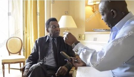 Daily Mail Writer Baz Bamigboye (r) Interviews Football Legend Pele.