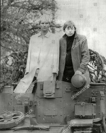 Television Programme 'artemis 81'. Singer / Actor Sting (l) And Actor Hywel Bennett (r) On Film Set.