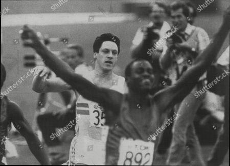 World Athletics Championships Helsinki 1983 - Allan Wells Finishes Behind The Jubilant Carl Lewis.